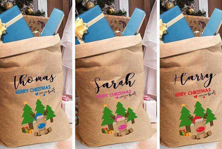 Personalised Christmas Reindeer Sack For Kids – 3 Colours! for £5.99