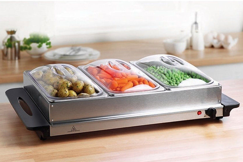 3-Pan Stainless Steel Heated Buffet Server from £24.99