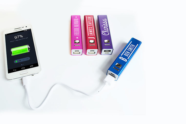 2600mAh Personalised Powerbank – 4 Colours! for £5.99
