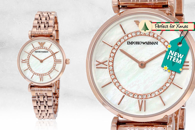 Ladies' Armani AR1909 Gold T-Bar & Mother of Pearl Dial Watch for £119