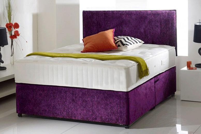 Crushed purple velvet divan bed with memory foam mattress for Divan bed and mattress deals