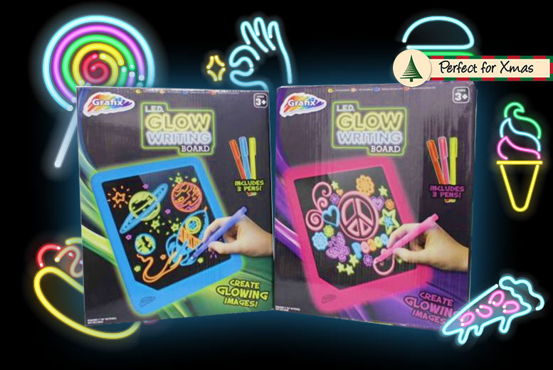 Kids' Neon Glowing LED Writing & Art Board – 2 Colours! for £4.99