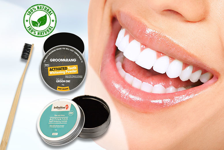 Advanced Charcoal Teeth-Whitening Powder & Bamboo Charcoal Brush for £4.99