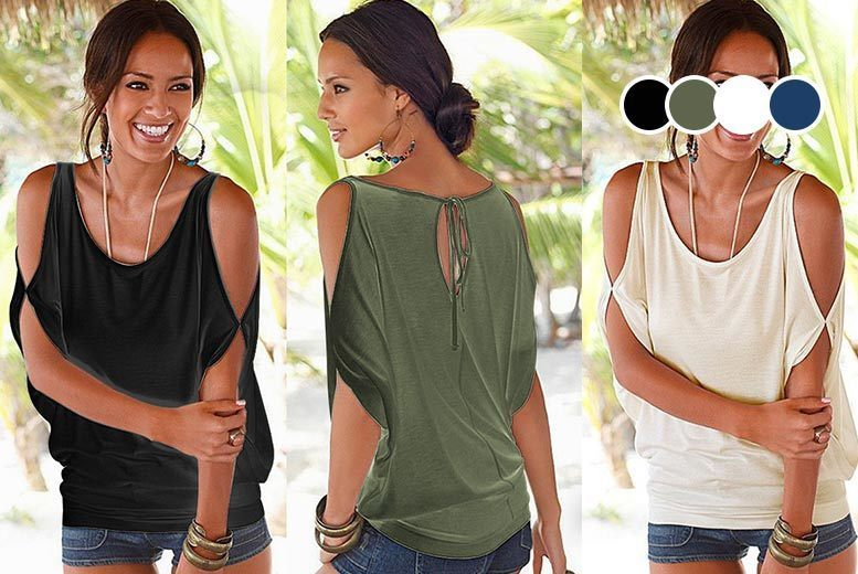 Cut-Out Cold Shoulder Jersey Top – 4 Colours & UK Sizes 8-18! for £6.99