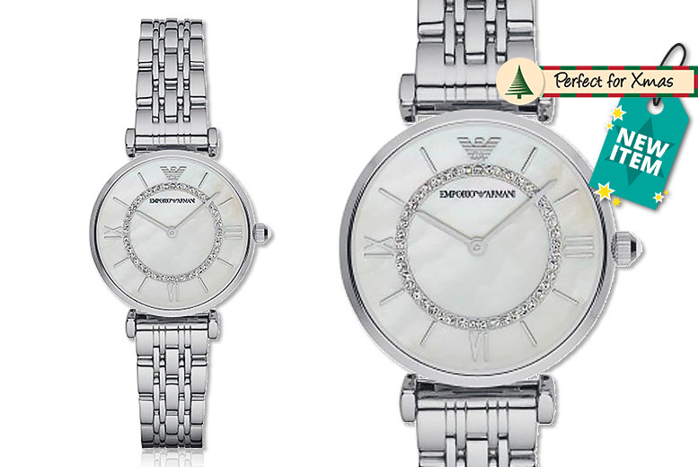 Ladies' Armani AR1908 Silver T-Bar & Mother of Pearl Dial Watch