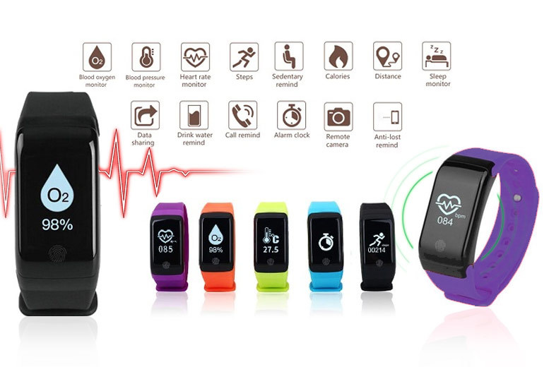 HR12+ Fitness Tracker w/ Blood Pressure, Oxygen & Heart Rate Monitor – 6 Colours! for £19.99
