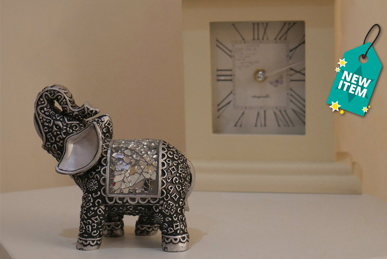 Silver Mosaic Elephant Figurine for £7