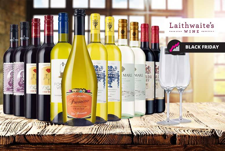 12-Bottle Case of Laithwaite's Wine & Prosecco & 2 Champagne Flutes from £45