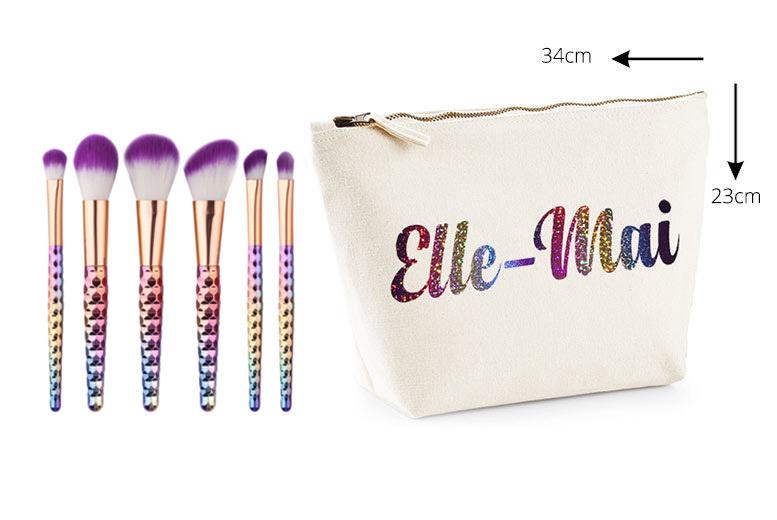 Personalised Unicorn Brush Makeup Bag Gift Set for £14