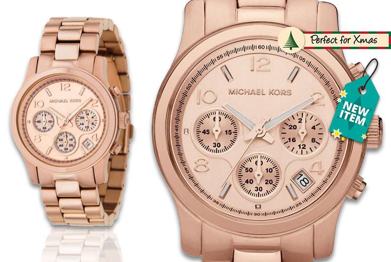 Ladies' Michael Kors Rose Gold-Plated MK5128 Runway Watch