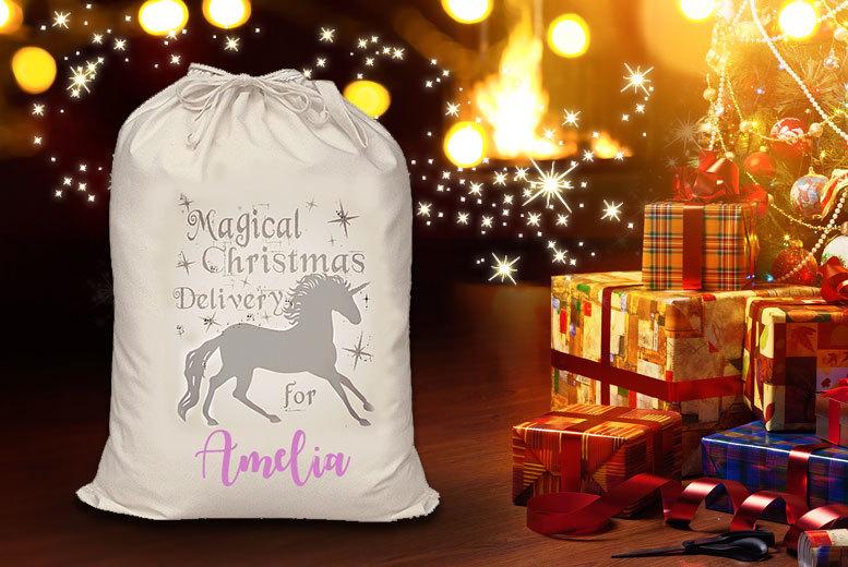Personalised Unicorn Christmas Gift Sack for £7.99