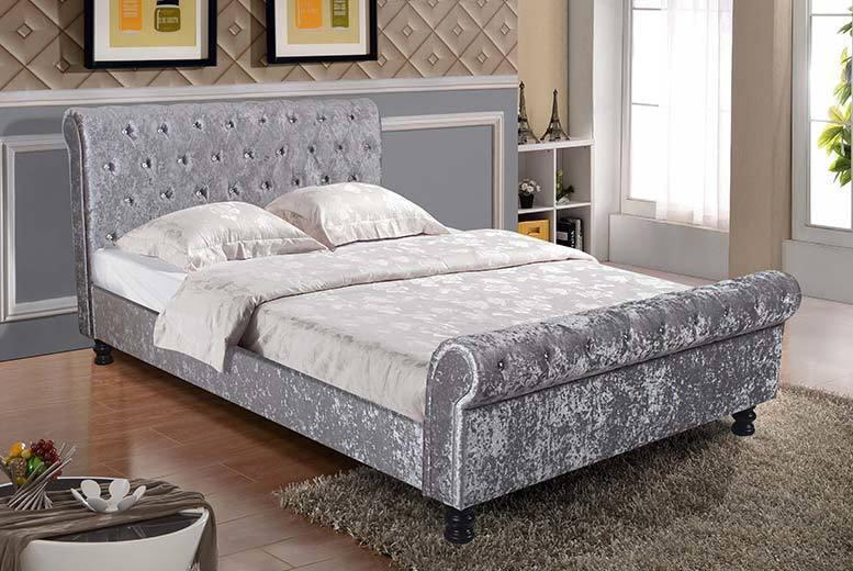 Luxurious Velvet Sleigh Bed & Optional Memory Sprung Mattress