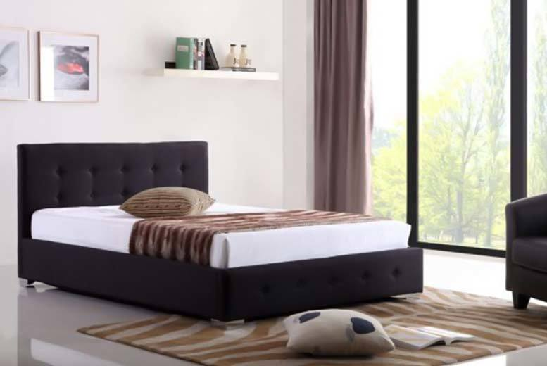 Contemporary Ottoman Storage Fabric Bed - 2 Colours & 3 Sizes!