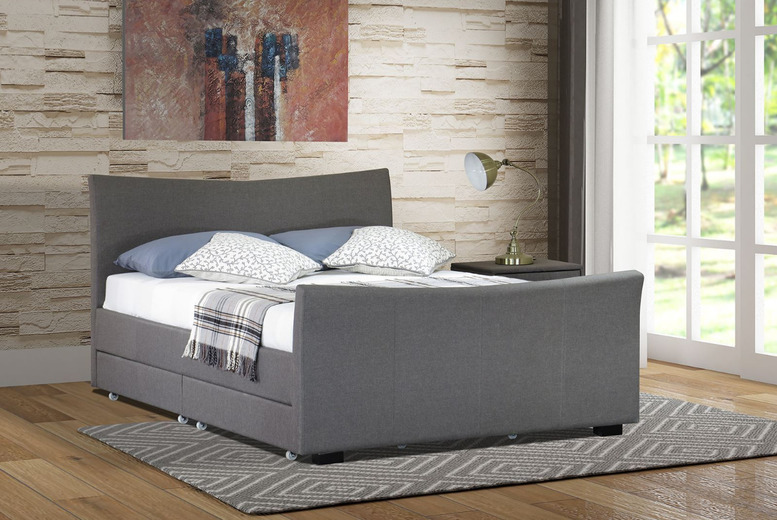 King Size 4-Drawer Designer Fabric Bed with Mattress Option from £139
