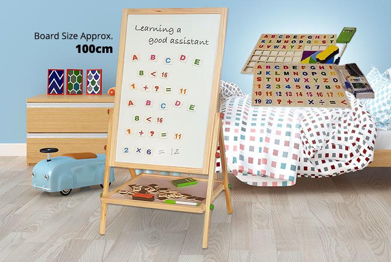 Kids' 2-in-1 Blackboard & Magnetic Whiteboard Easel for £19.99