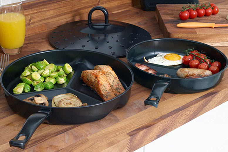 3pc Divider Frying Pan Set for £9