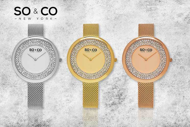 Women's SO & CO Crystal Filled Mesh Watch - 3 Designs!