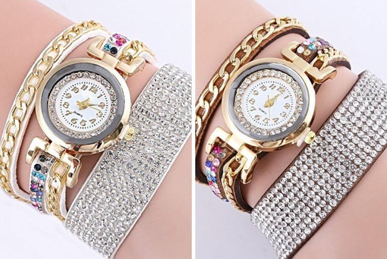 Ladies Jillian Gold Chain Wrap Watch - 6 Designs!