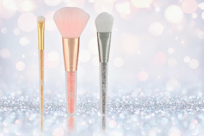 3pc Crystal Makeup Brush Set