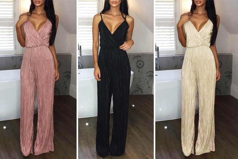 Pleated Strapless Jumpsuit – 3 Colours & Sizes 6-14! for £12