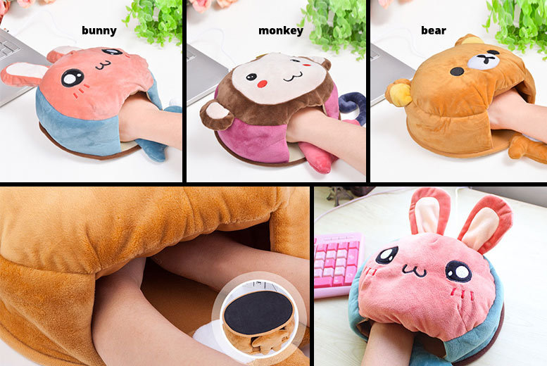 Plush Hand-Warming Mouse Pad with USB Heater – 3 Designs! for £7.99
