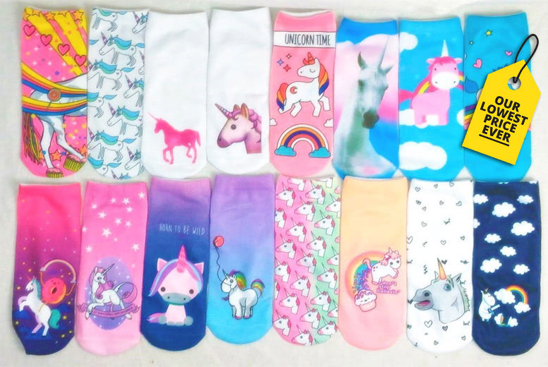 4 or 8 Pairs of Assorted Unicorn Socks – 13 Designs! from £4.99