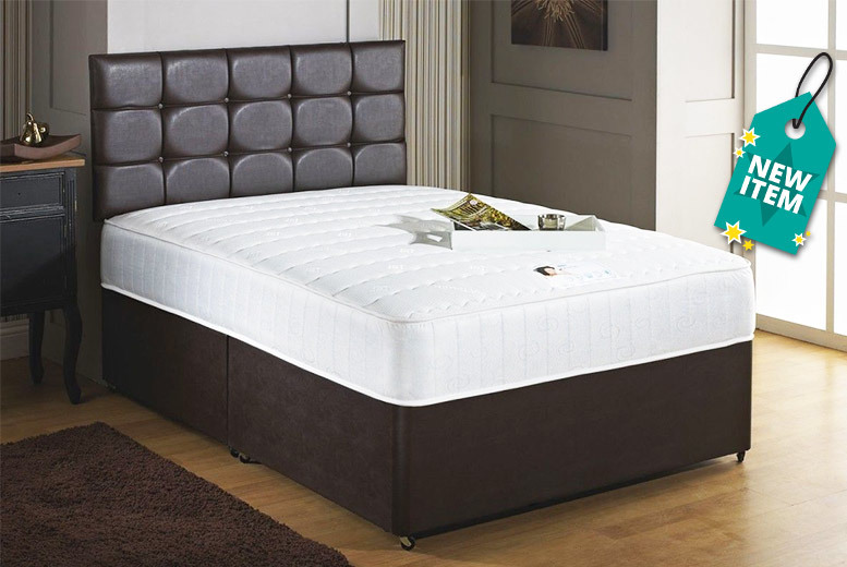 Faux Leather Divan Bed Set with Mattress & Drawer Options – 5 Sizes! from £99