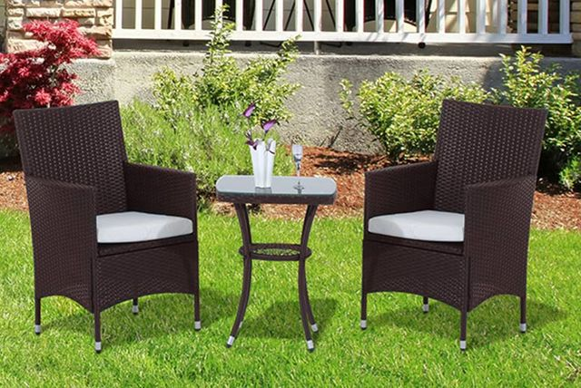 Garden Furniture Colours 3pc bistro rattan garden furniture set - 2 colours!