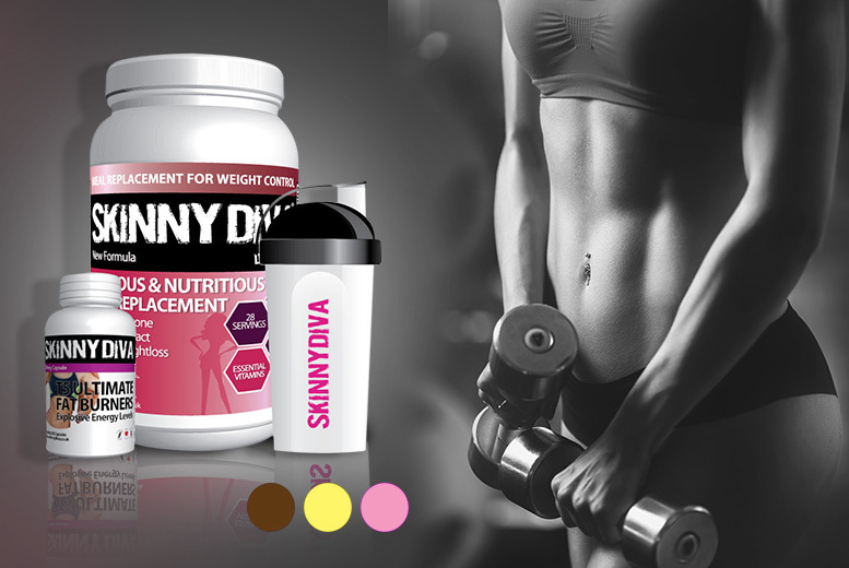 £22 instead of £79.98 (from Skinny Diva) for a four-week* supply of 'meal replacement' shake mix and a shaker and a 1-month** supply of ultimate T5 fatburners - save 72%