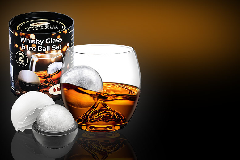 Whiskey Tumbler & Ice Ball Set for £6.99