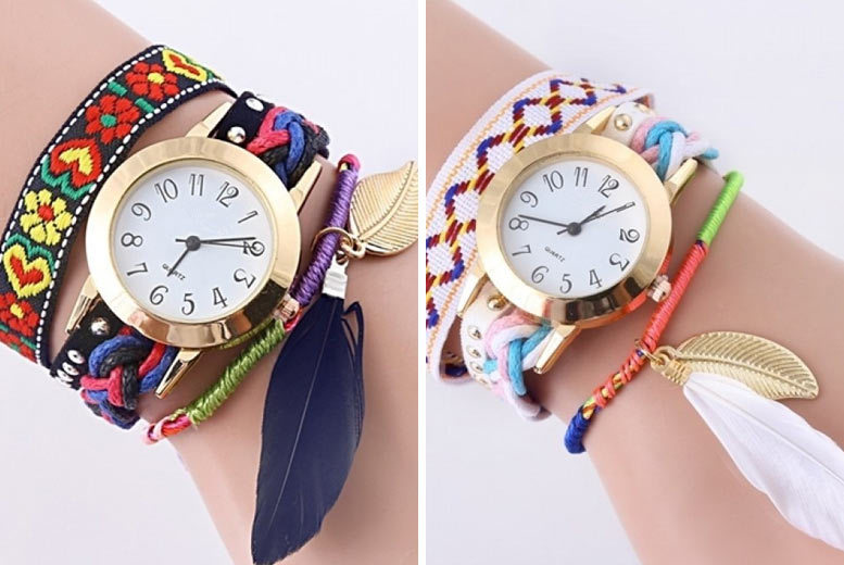 Haley Feather & Leaf Charm Watch - 5 Colours!