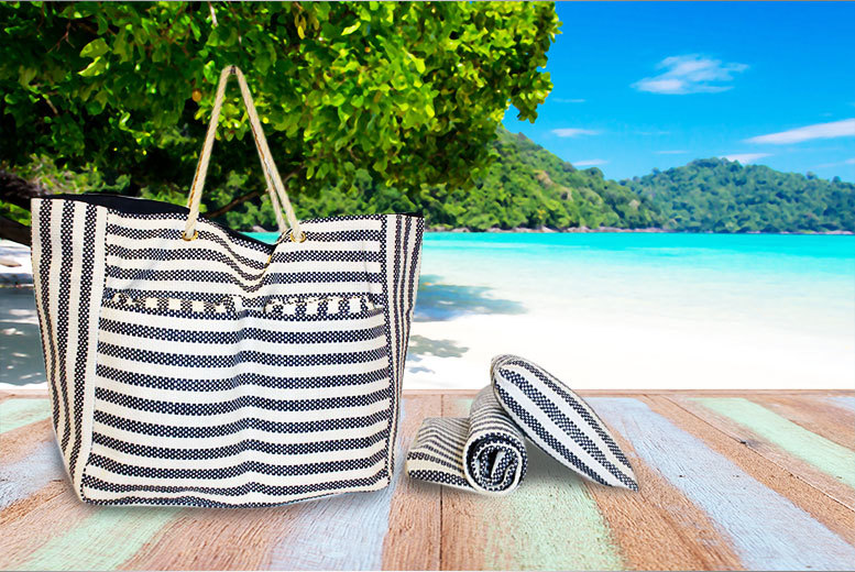 Striped Beach Bag, Pillow and Mat