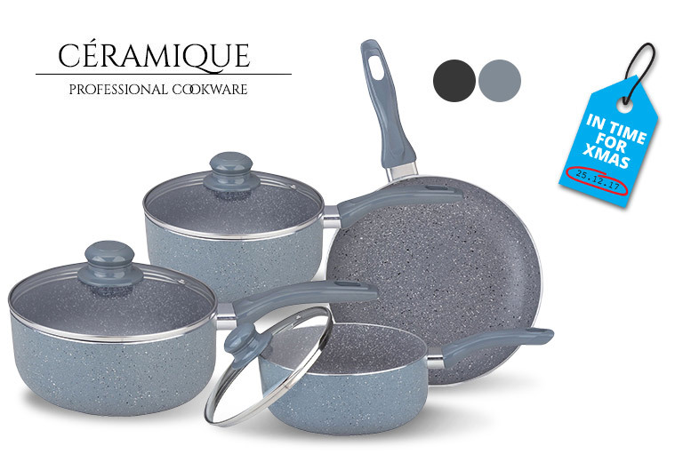 7-Piece Non-Stick Marble-Coated Pan Set for £29