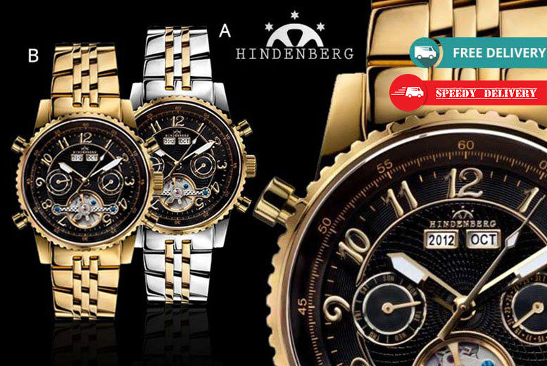 Men's Hindenberg 'Gold Edition' Air Professional Watch – 4 Designs! for £199