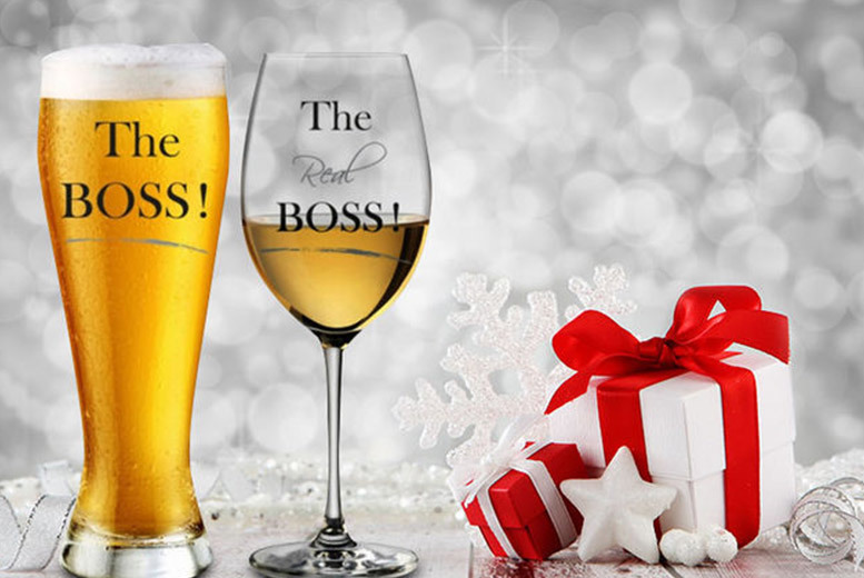 Mr and Mrs Beer and Wine Glass Gift Sets – 2 Styles! for £9.99