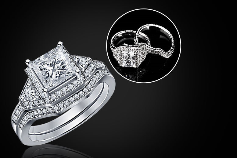£19 instead of £289.99 (from Girly Glitz) for a double cubic zirconia ring set - save 93%