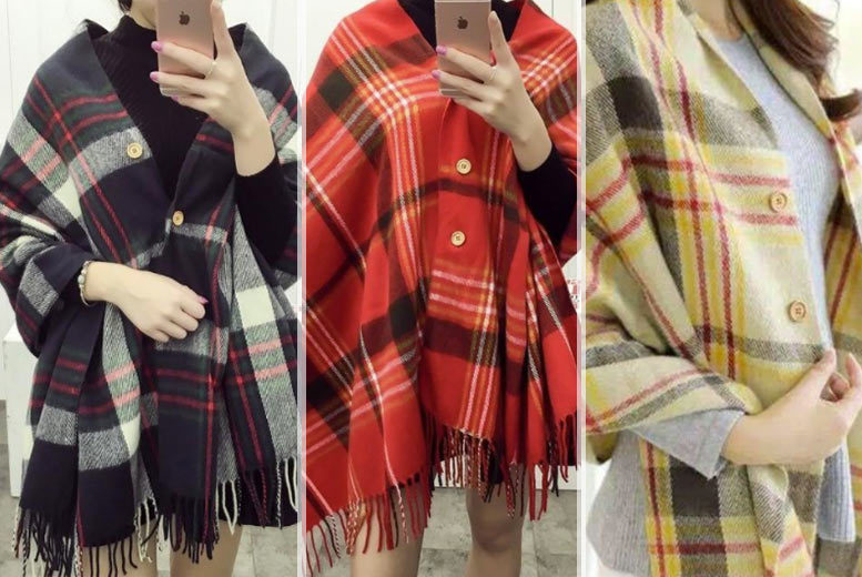 Oversized Button Up Tartan Scarf – 3 Colours! for £9