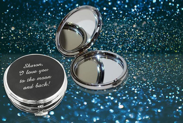 Personalised Silver-Plated Compact Mirror for £9