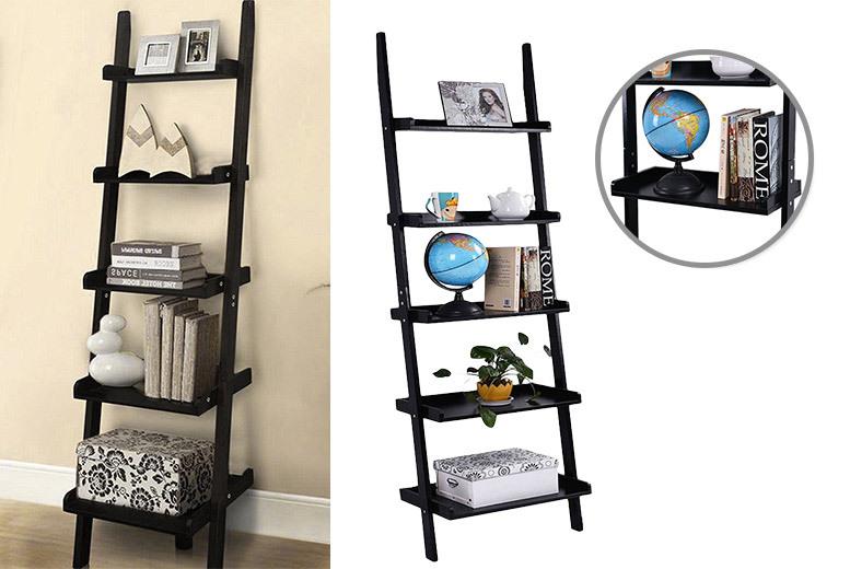 5-Tier Wooden Leaning Ladder Shelf Unit for £24