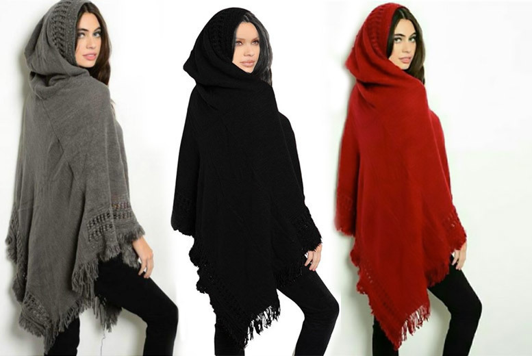 Hooded Fringe Poncho – 3 Colours! from £12