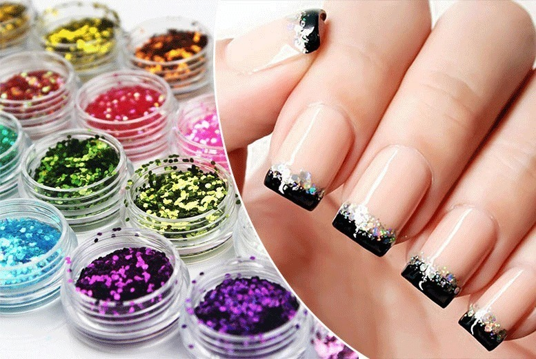 French Tip Gel Nails with Glitter for £4.99