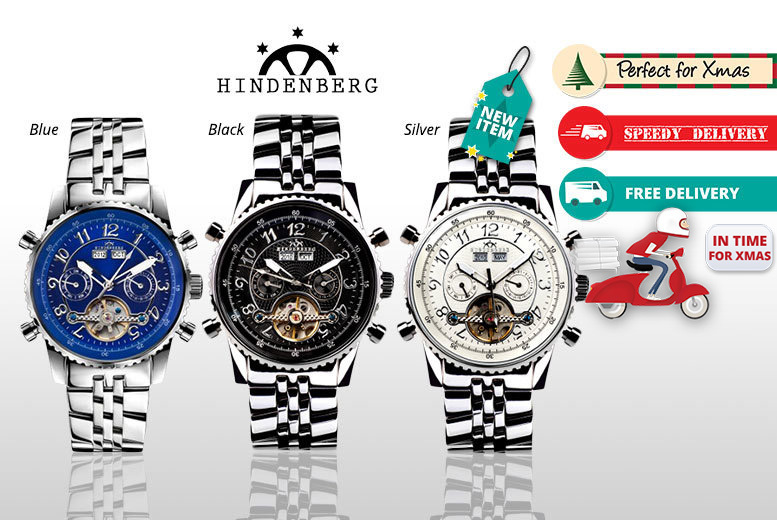 Men's Hindenberg Stainless Steel Air Professional Watch – 3 designs! for £179