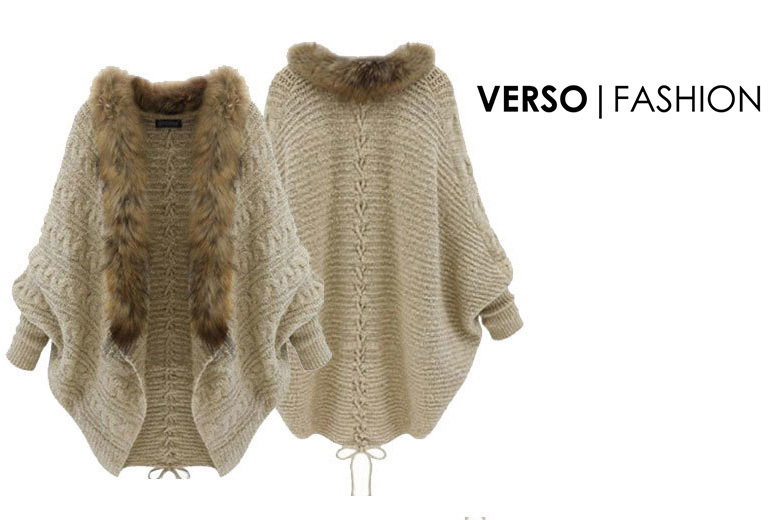 Faux Fur Lined Batwing Cardigan – Size 8-14 for £12.00
