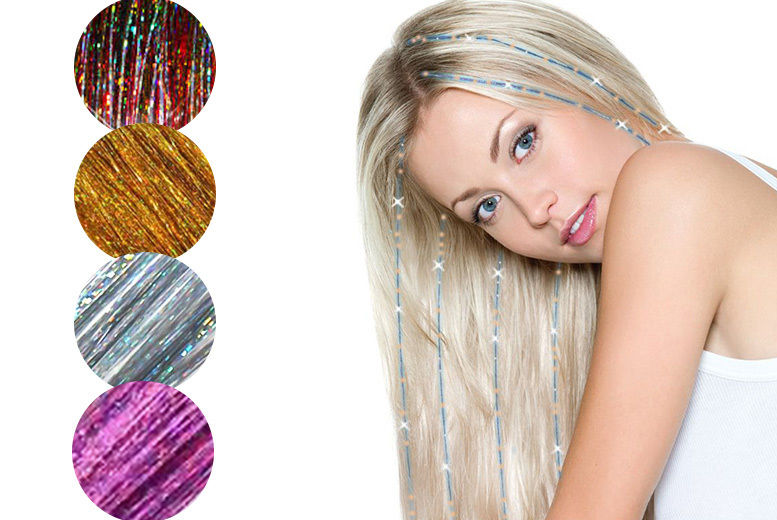 3 Pack of Hair Tinsel Bling Extensions – 4 Colours! for £3.99