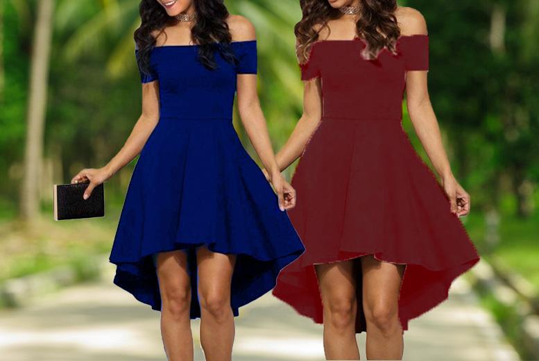 Asymmetric Bardot Skater Dress – 4 Colours! for £11.99