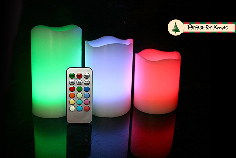 3 LED Colour-Changing Vanilla Scented Mood Candles for £7.99
