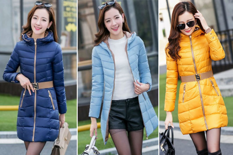 Belted Puffer Jacket – 5 Colours & UK Sizes 6-16! for £15