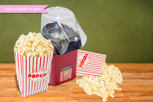 £14.99 instead of £29 (from Sherwood Direct) for a red or pink popcorn maker, 500g popping corn & 5 cinema-style bags - save 48%