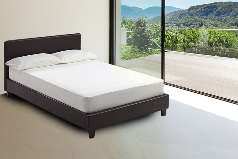 From £89.99 (from Bed World) for a Joseph Elva faux-leather bed frame, from £114.99 to include an 'orthopedic' mattress - choose from three sizes and save up to 68%