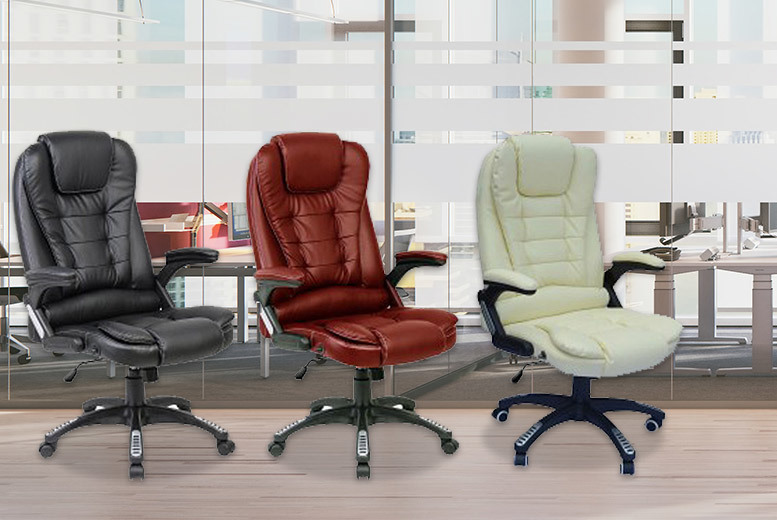 Executive Reclining Swivel Office Chair – 3 Colours! for £74